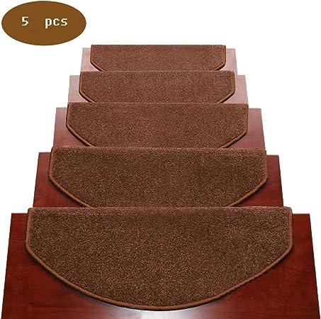 QLING Alfombrillas para Peldaños Antideslizante 5 Piezas Escalera Moquetas, Alfombra De La Escalera Escalera Moquetas, Durable Alfombrillas para Peldaños Silicona Mismo-pegando-marrón 39x9inch: Amazon.es: Hogar