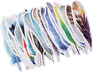 Usdepant 30Pcs/Set Colorful Feather Shape Paper Bookmarks for Reading (Colorful Feather shape)