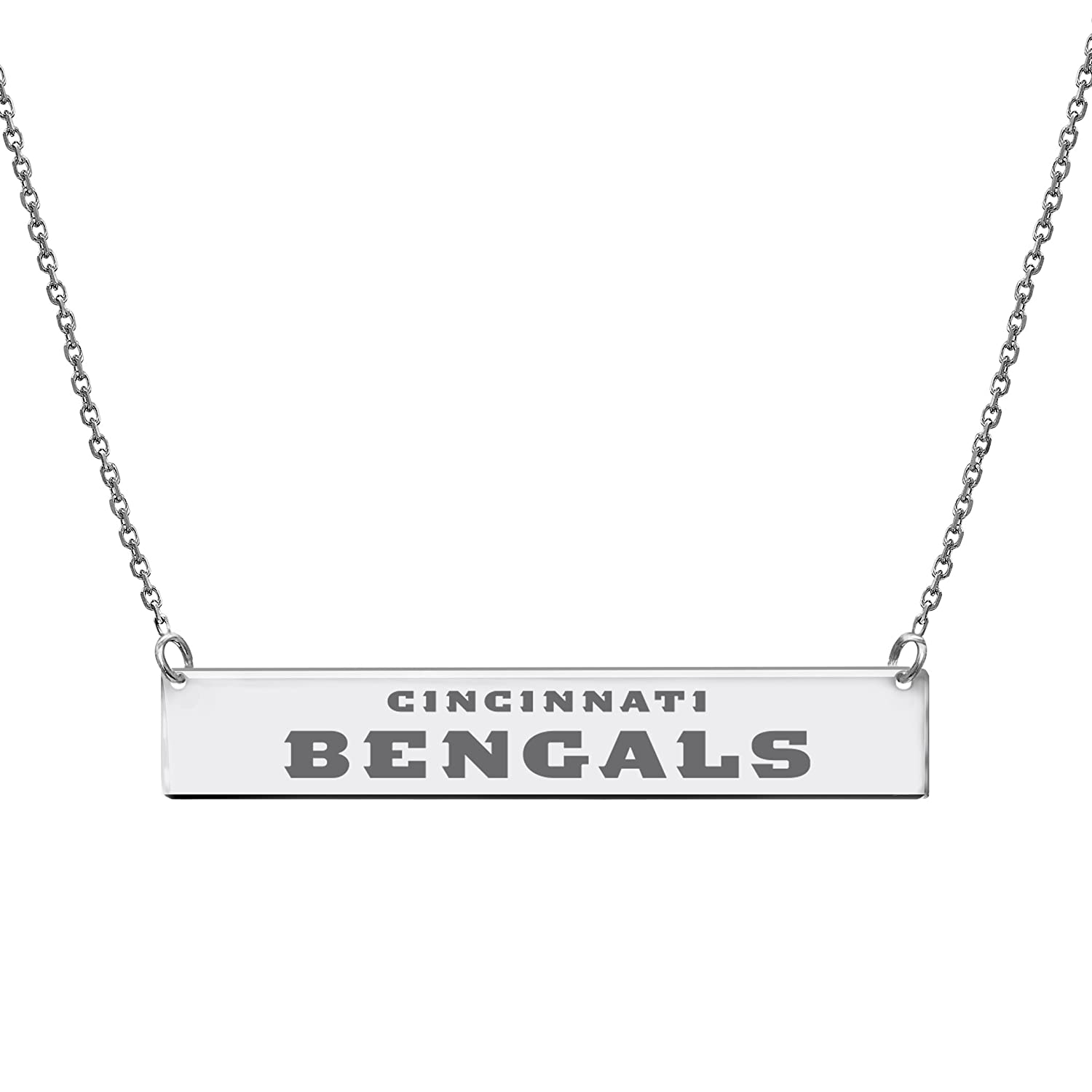 NFL Cincinnati Bengals Bar Necklace DiamondJewelryNY Silver Pendant