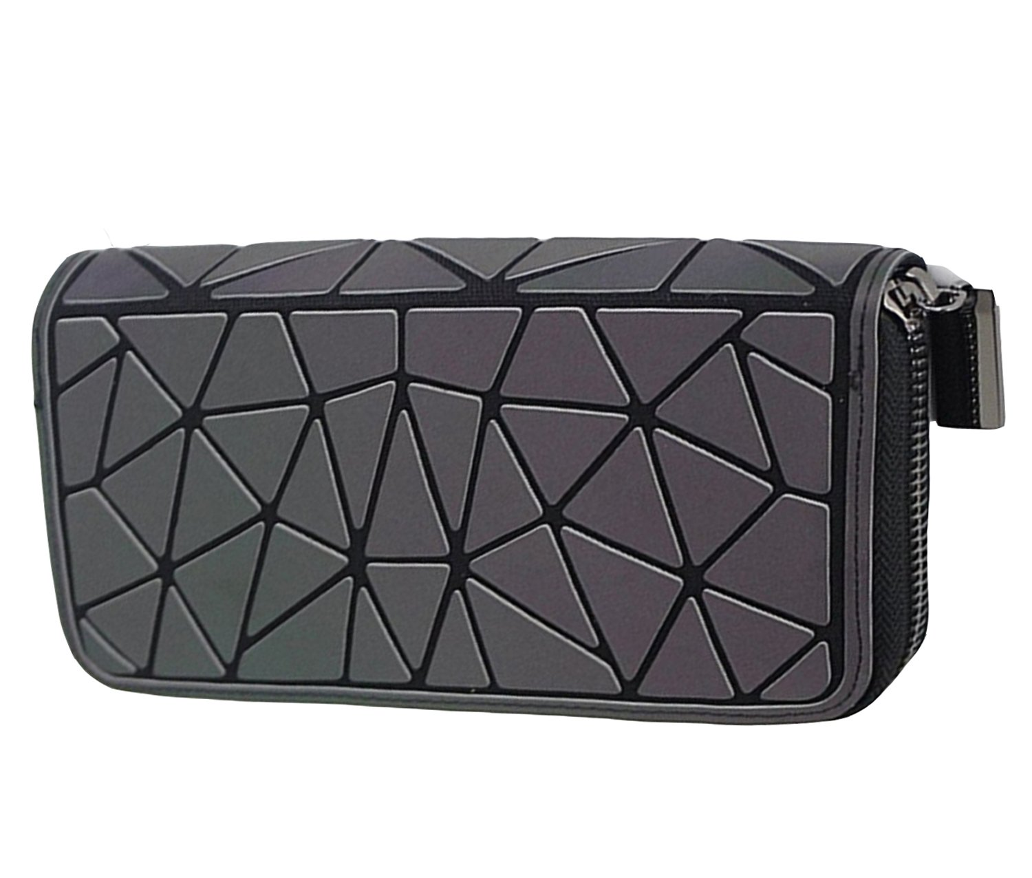 Magibag Women Geometric Rhomboids Lattice Wallet Iridescent Purse Long Coin Purse Clutch Cell Phone Case (Triangle)