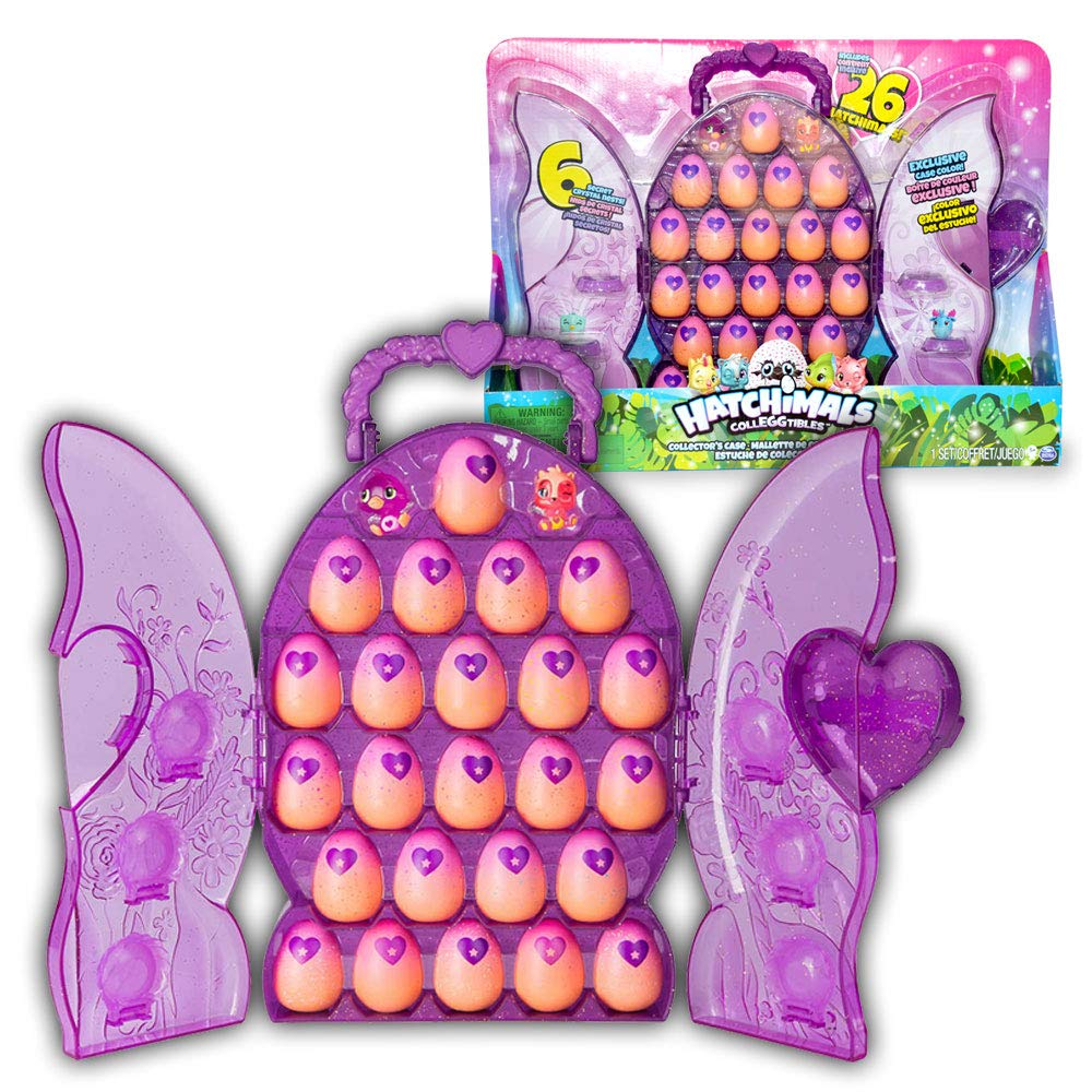 Hatchimals Colleggtibles - 24 Eggs to Hatch with 2 Exclusive Hatchimals - 6 Secret Crystal Nests - Deluxe Purple Pink Collector\'s Display Case Spin Master