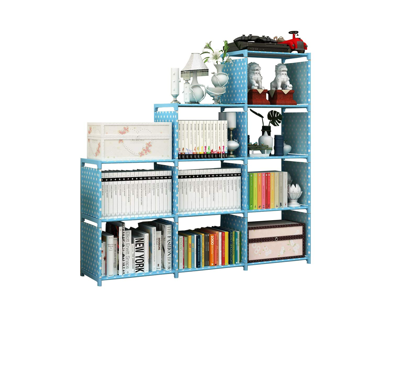 JK furniture DIY Adjustable 9-Cubes Shelf, Bookshelf, Bookcase, Shelves Steel Tube Combination (Blue)