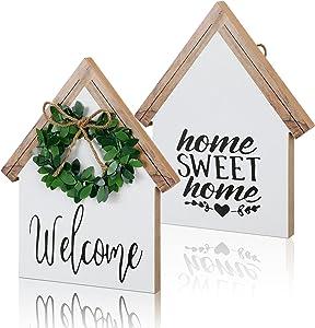 Jetec Wood Sign House Shape Farmhouse Decor Double-Sided Home Sweet Home Decor Home Sign for Living Room Window Shelf Desk Office