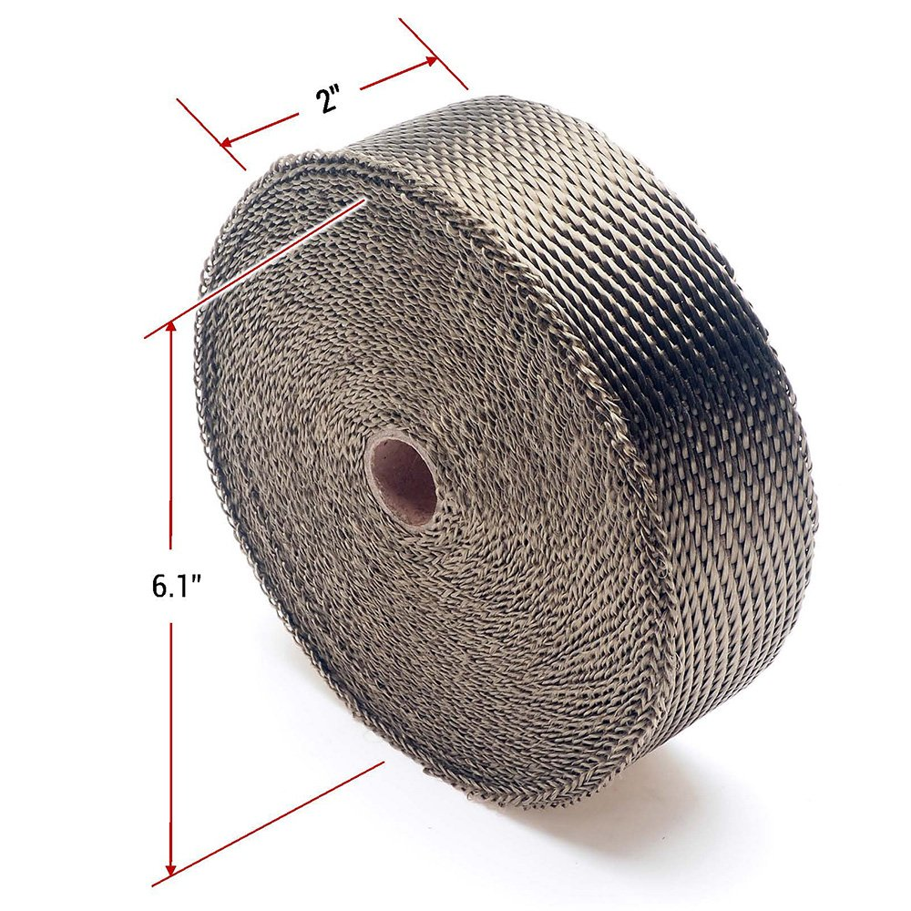 APE Racing Basalt Lava Twill Weave Muffler Pipe Shield Tape Roll 2 x 50 For ATV Motorcycle Car UTV Exhaust Header Heat Wrap Titanium Wraps with 8pcs Stainless Steel Zip Ties