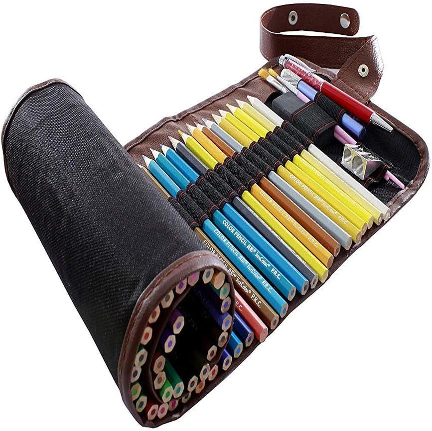 inherited Crayons de couleur Organizer,48 Fente /Étui pour crayon de toile 72 Fente Toile Sac Crayon Trousses Sac /à Crayon enroulable Wrap en Toile Motif R/étro Pour Crayon de Couleur