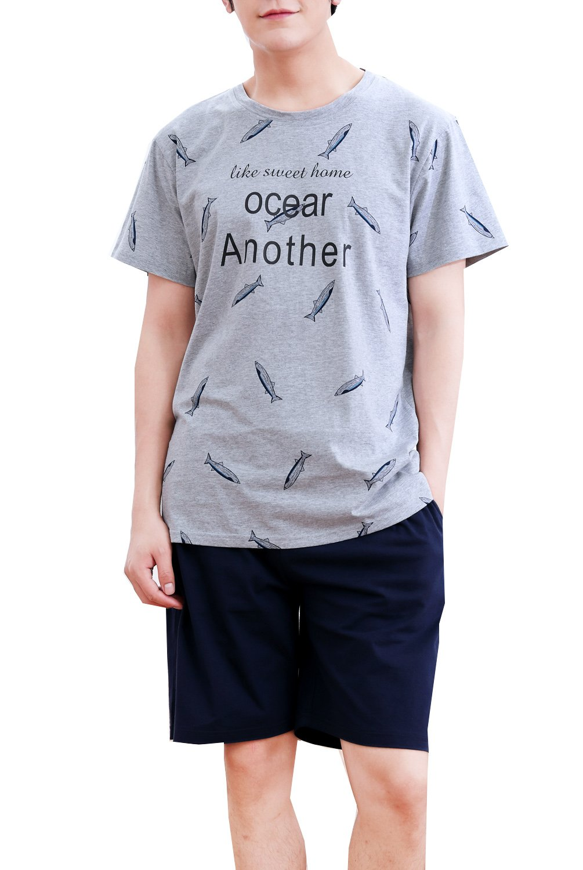 Big Boys Soft Cotton Summer Shorts Tops Pajamas Set Young Boys(10y-18y)