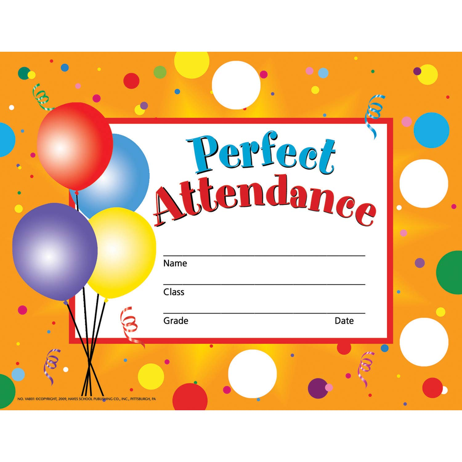 Hayes H-VA801BN Perfect Attendance Certificates & Reward Seals, 8.5'' x 11'', 1140 Per Pack, 6 Packs by Hayes