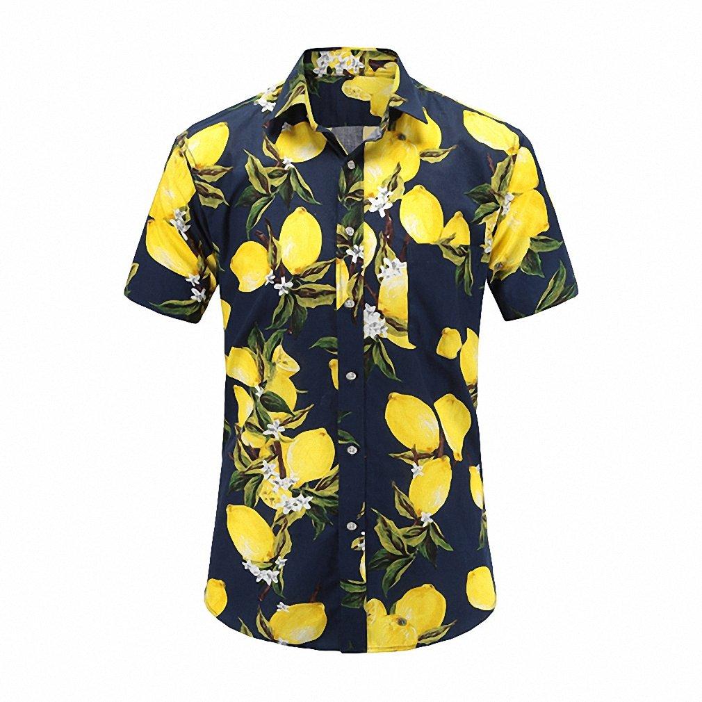 Emlyn Adrian Mens Short Sleeve Beach Hawaiian Shirts Cotton Floral Shirts Regular PlSize