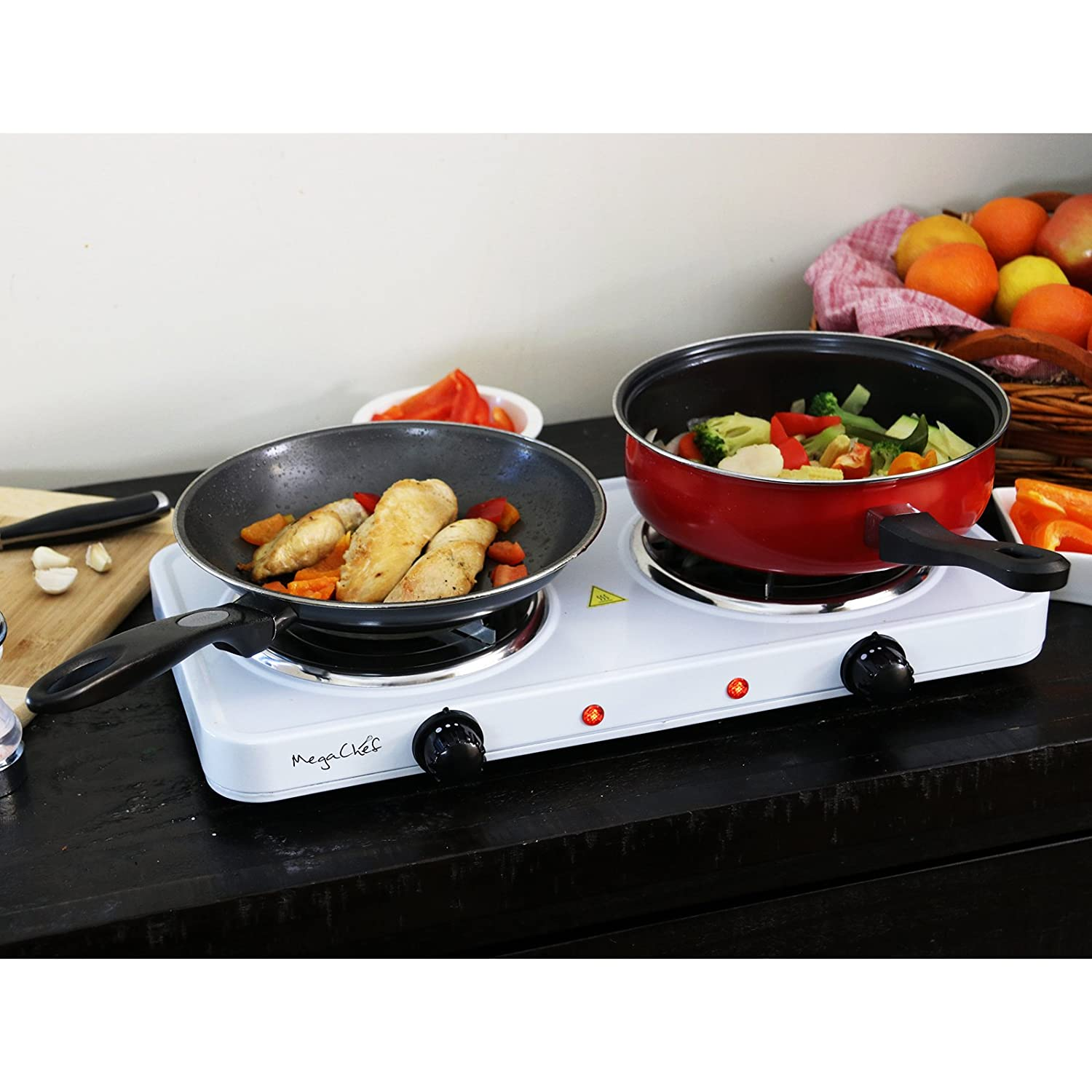 Amazon.com: MegaChef Electric Easily Portable Ultra Lightweight Dual Coil Burner Cooktop Buffet Range in White: Kitchen & Dining