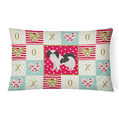 Caroline's Treasures CK5849PW1216 Japanese Chin #2 Love Canvas Fabric Decorative Pillow, 12H x16W, Multicolor : Garden & Outdoor