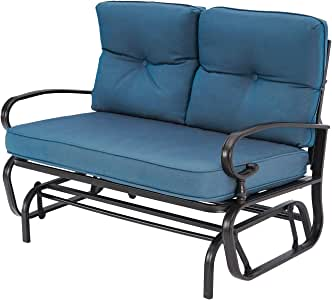 SUNCROWN Outdoor Glider Bench Cushions 2 Person, Patio Loveseat Swing Rocking, Sets Steel Frame Furniture(Blue Cushion)