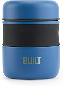 BUILT Double Wall Stainless Steel Vacuum Insulated Reusable Food Storage Jar, 10-Ounce, Imperial Blue