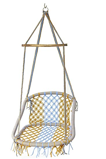 NOVICZ Hanging Swing Chair for Balcony Jhula for Kids Adults Home Indoor Outdoor Garden LVLY-L-Multicolor 1 Year Warranty