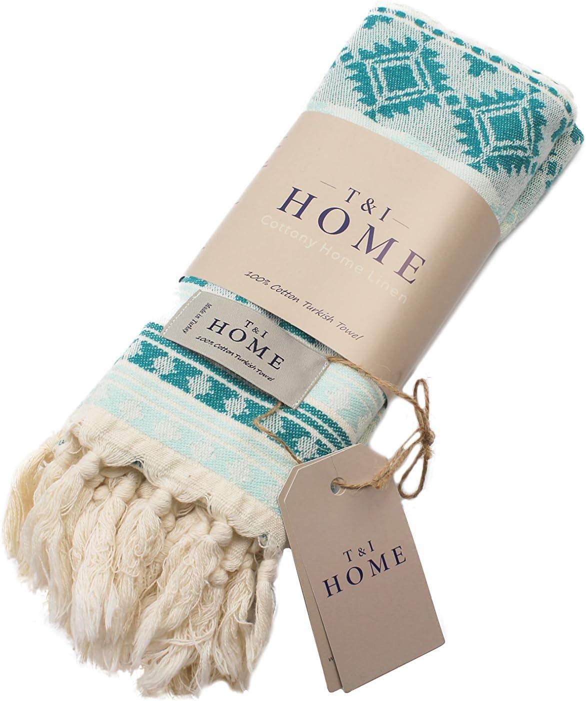 T&I Home Aztec Turkish Hand Towel Set of 2, 16 x 40 Inches, Prewashed, Quick Dry, Face Towel, Hair Towel, Tea Set, Spa, Gym, Decorative Hand Towels for Bathroom, Kitchen Towel Set (Mint)