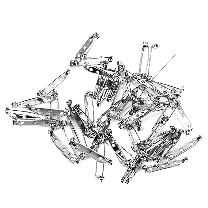 Panytow Approx 50pcs Brooch Back Safety Catch Bar Pins 32mm Amazon