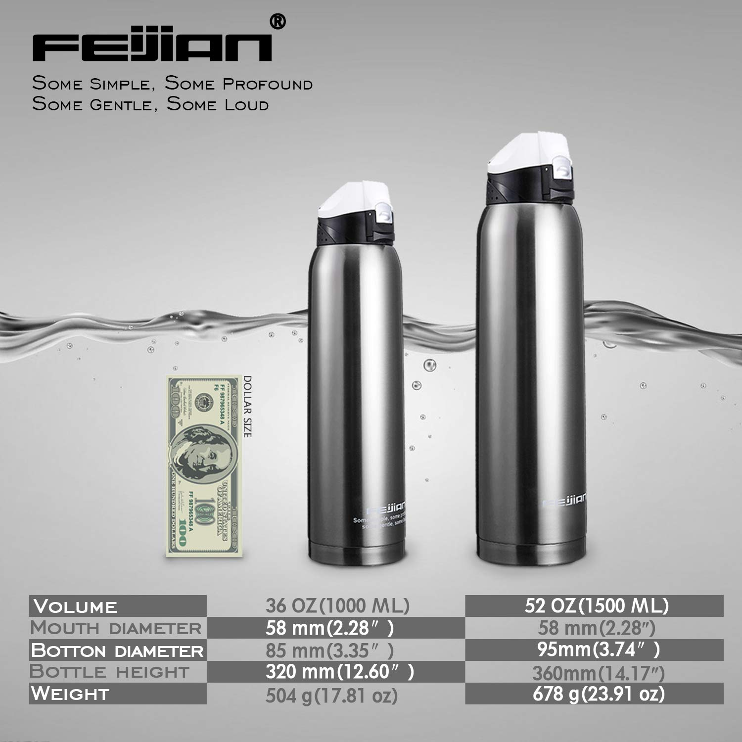 With A Free Bag 36 OZ 52 OZ FEIJIAN Double Walled Vacuum Men 1 Liter 1.5 Liter Water Bottle Thermos Flask Stainless Steel Insulated Water Bottle