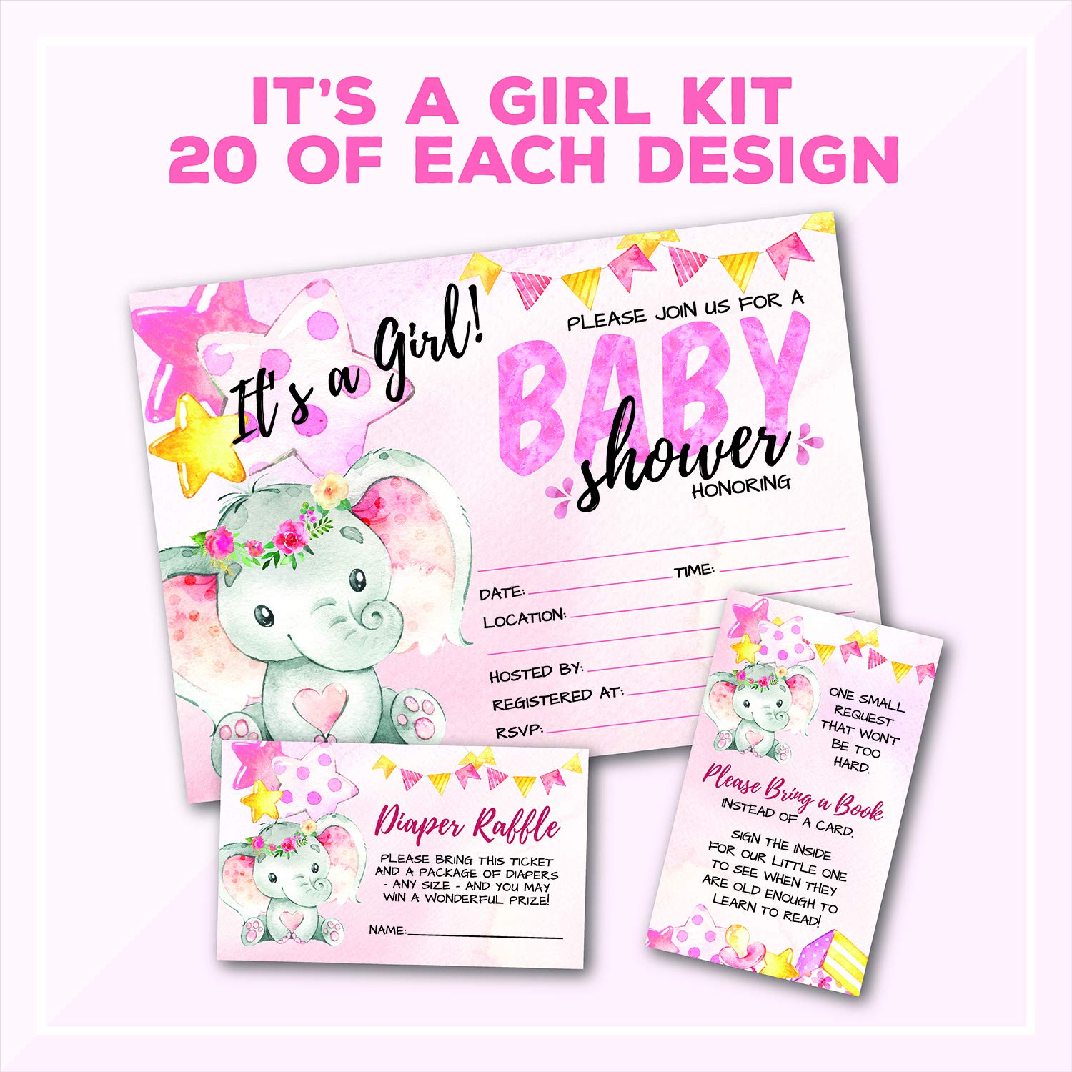 Deluxe Pink Elephant Baby Shower Invitations, Jungle, Tropical Safari Animals, Its A Girl Party Invites, Includes- 20 Each Large Double Sided 5 x 7 Invites, Raffle Tickets, and Book Request Inserts by Pink Pixie Studio (Image #1)