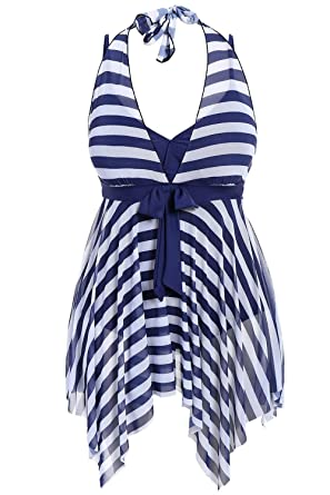 48ec6fca2e6a7 Misassy Womens Plus Size Striped One Piece Swimsuits Halter Cover Up  Swimdress High Waist Bathing Suits