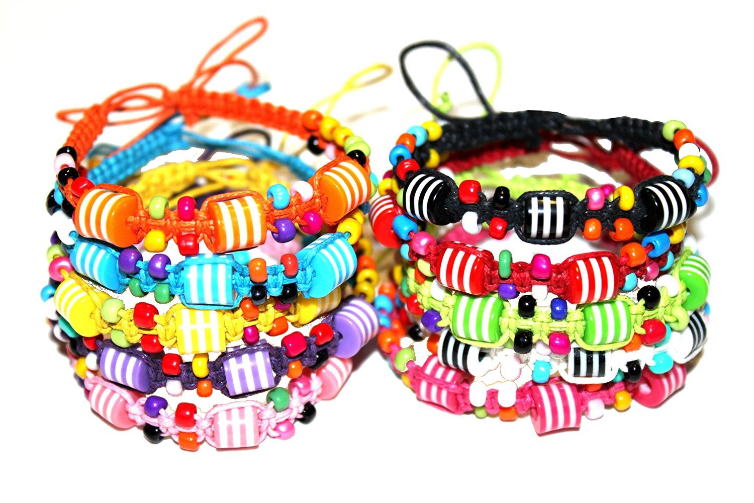 Syleia Colorful Friendship Bracelets Fashion Jewelry Set of 10 Party Favors With Striped Beads by Syleia