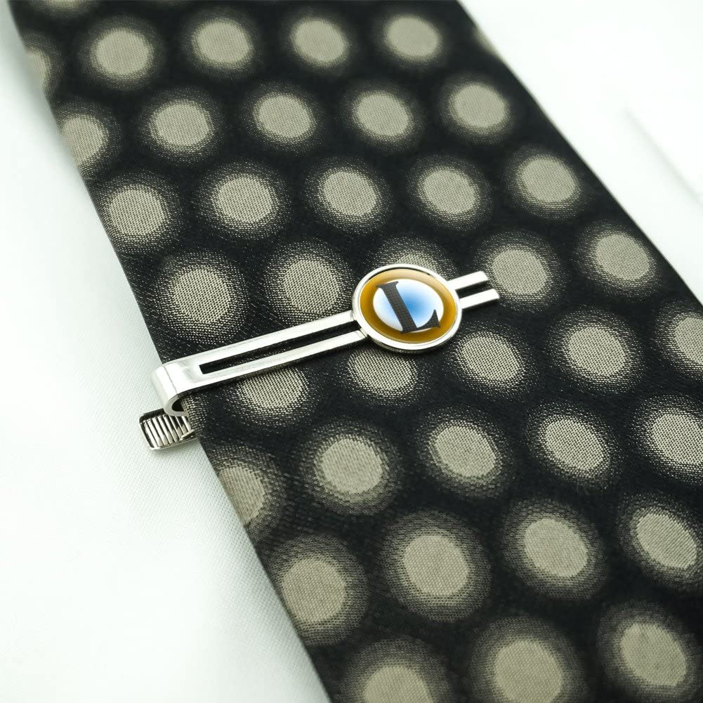 Letter L Initial Gold and Blue Pattern Mens Tie Clip Tack Bar