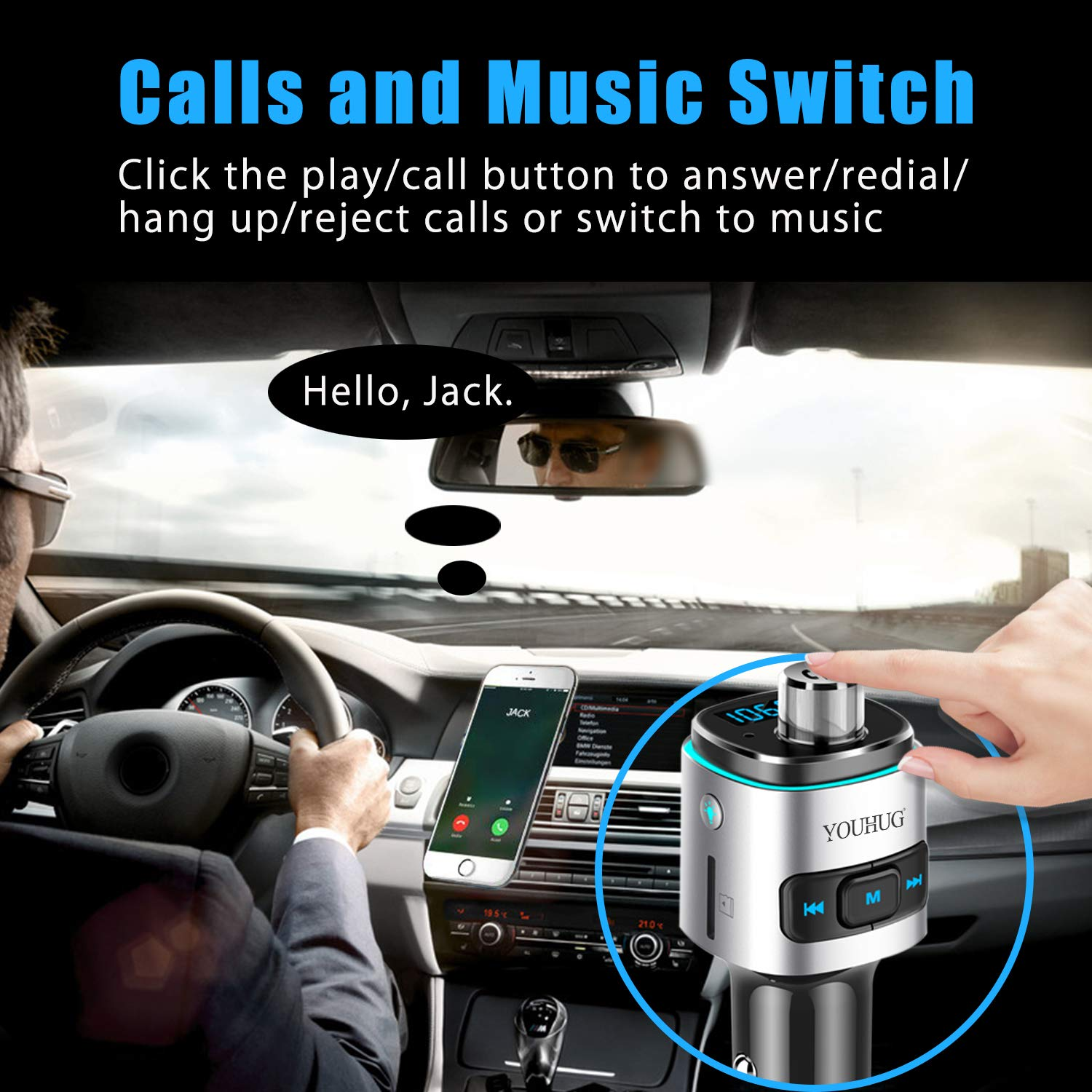 Sliver YOUHUG Bluetooth FM Transmitter for Car Wireless 7 Color LED Quick Charging 3.0 Hands Free Calling Dual USB Port