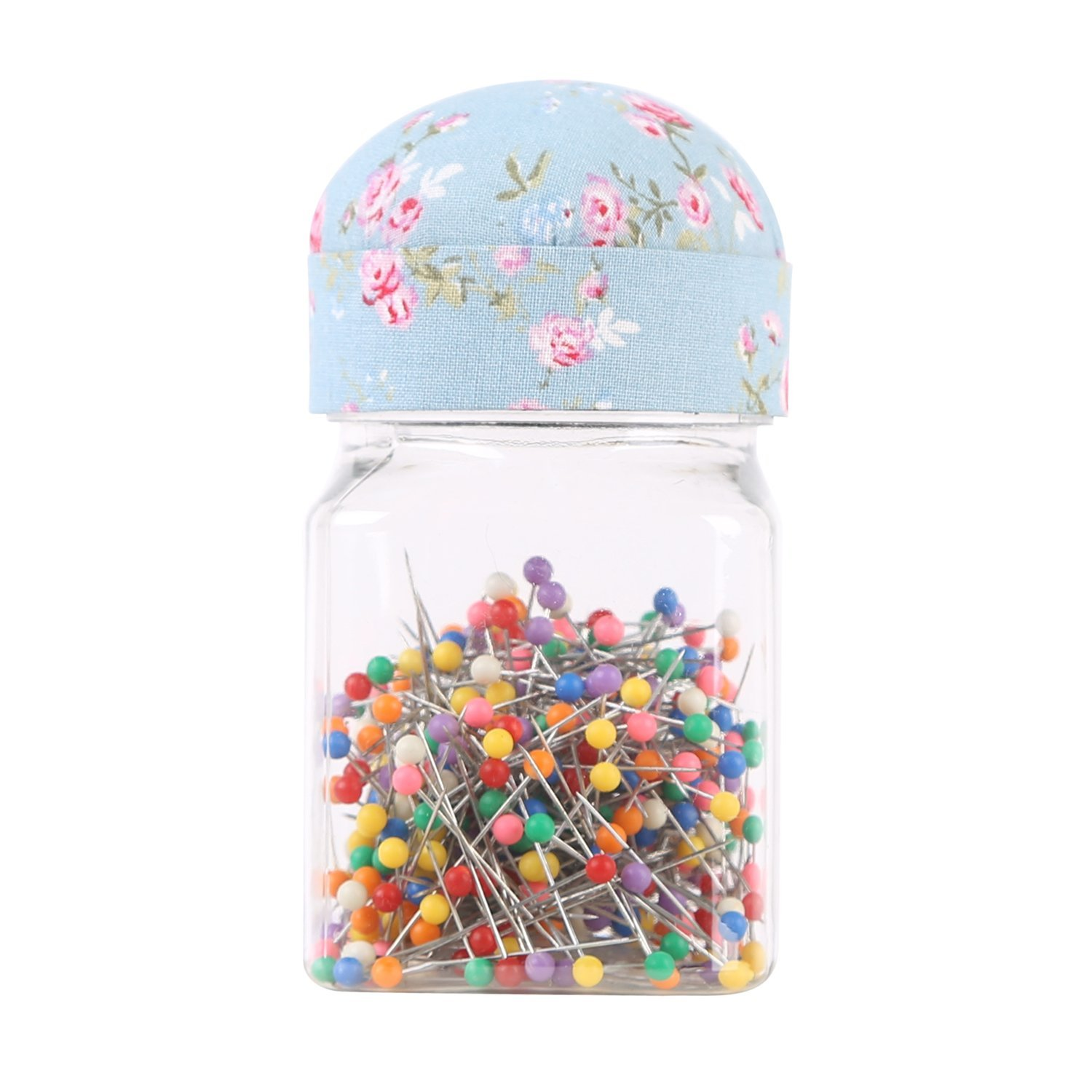 NEOVIVA Plastic Storage Jar for 300 Ball Head Quilting Pins with Pin Cushion Lid for Easy Sewing, Floral Blue Ocean by Neoviva