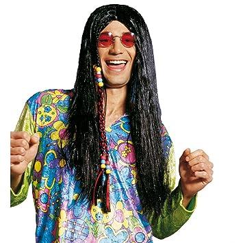 Disfraz negro peluca de flores Peace hippie de carnaval de ...