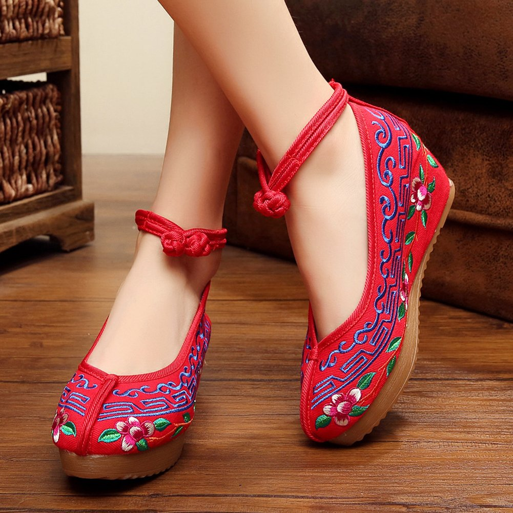 AvaCostume Chinese National Style Casual Shoes Embroidery Flat Sole Walking Shoes Casual for Girls Women B079ZNDJNQ 43 M EU|Red ada2ab