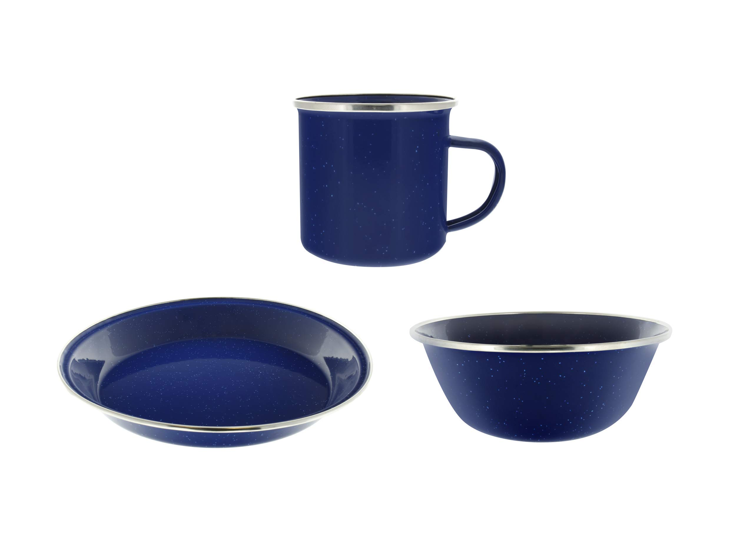 Direct 2 Boater Camping Dinnerware 1-Person Set, 3 Items - 1 ea of 24 oz Mug, 6'' Bowl & 10'' Plate Metal w/Blue Enamel Finish
