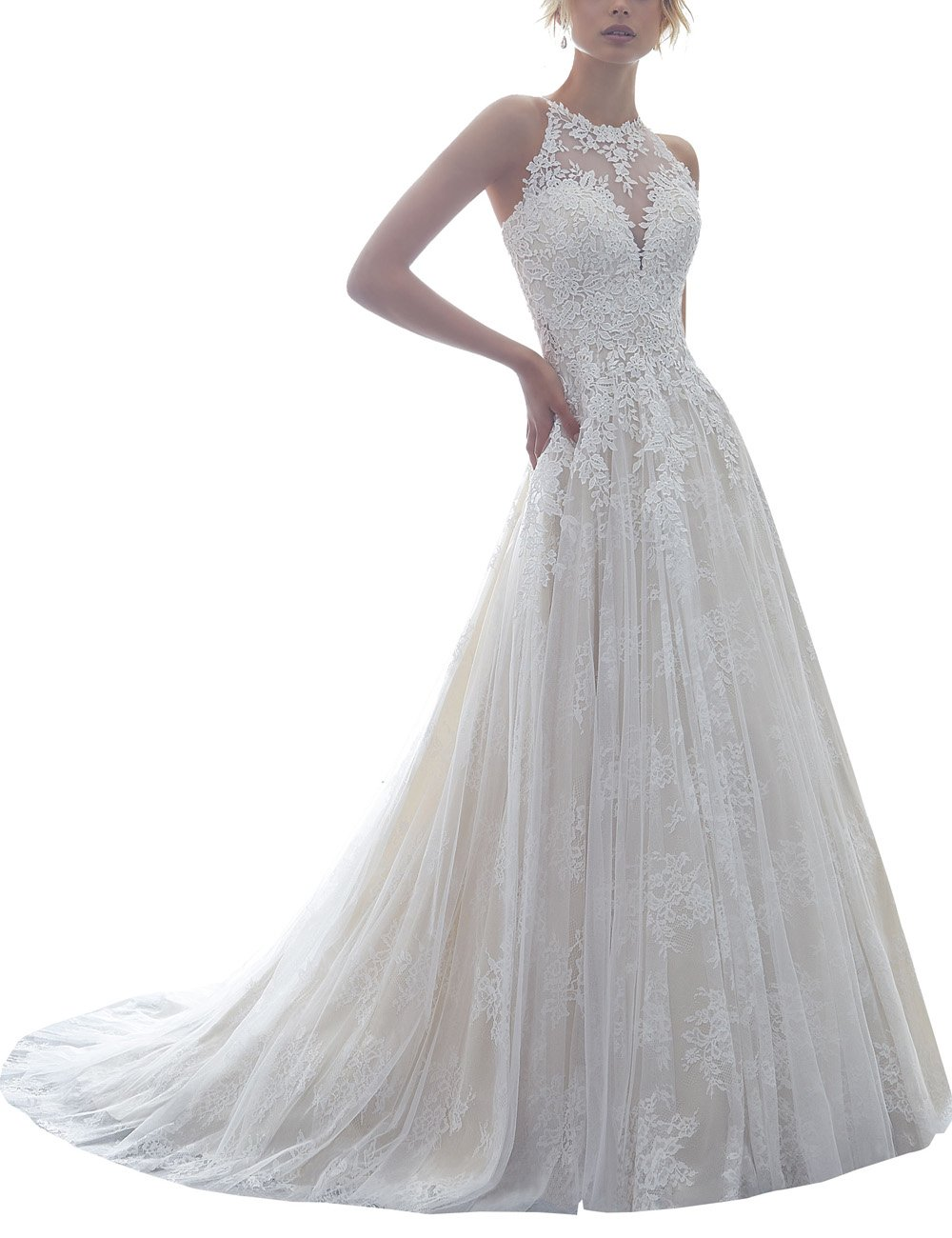 Halter Lace Sleeveless Sheer Back Long A Line Wedding Dresses For Bride (All Ivory,14)