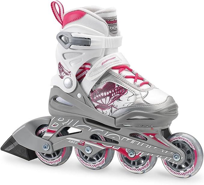 Bladerunner by Rollerblade Phoenix Girls Adjustable Fitness Inline Skate, White and Pink, Junior, Value Performance Inline Skates