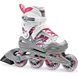 Bladerunner by Rollerblade Phoenix Girls Adjustable Fitness Inline Skate, White and Pink, Junior, Value Performance…