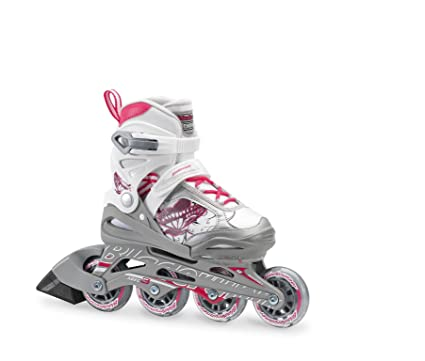 c492ee28 Rollerblade Bladerunner Phoenix Girls Adjustable Fitness Inline Skate,  White and Pink, Junior, Value