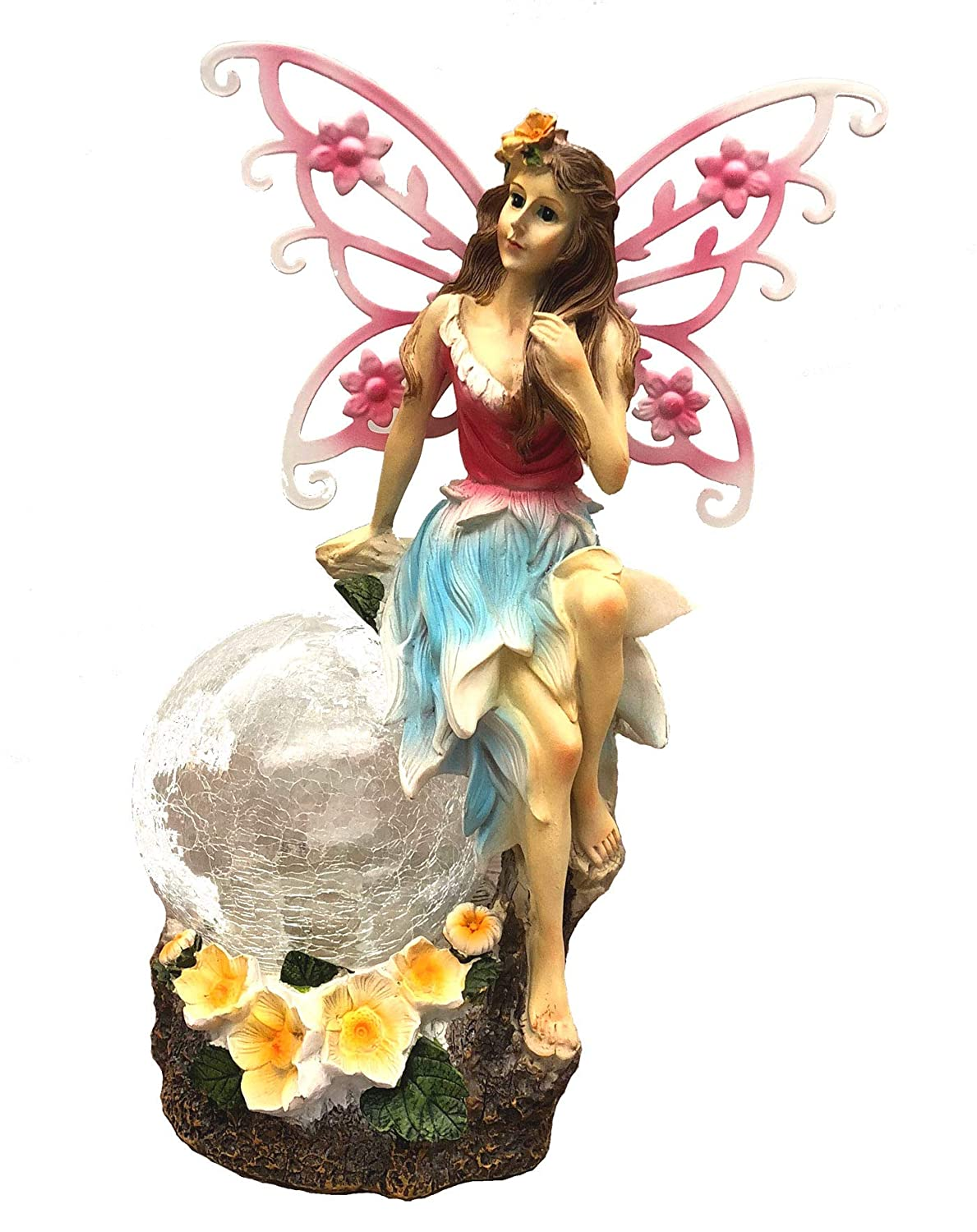 Bo-Toys Large 15 Inch Tall Solar Powered Fairy Angel with Metal Wings and Solar Glowing Ball, Garden Light Decor