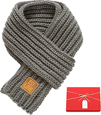 Kids Winter-Warm Knit Scarf Fashion Solid Color Toddler Cable Long Scarves for Boys Girls