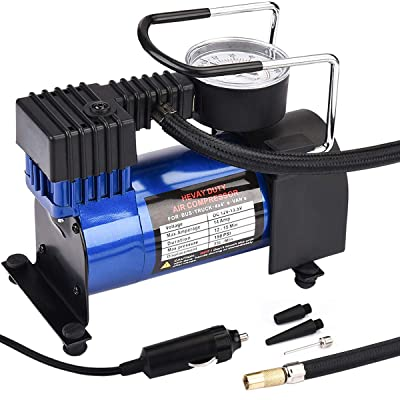HONGNAL Air Compressor Tire Inflator, DC 12V Portable Car Air Compressor Pump with Gauge Multi-Function Car Air Pump with 3 Nozzle Adaptors for Car Tires, Bicycles, Trucks & Inflatables: Automotive