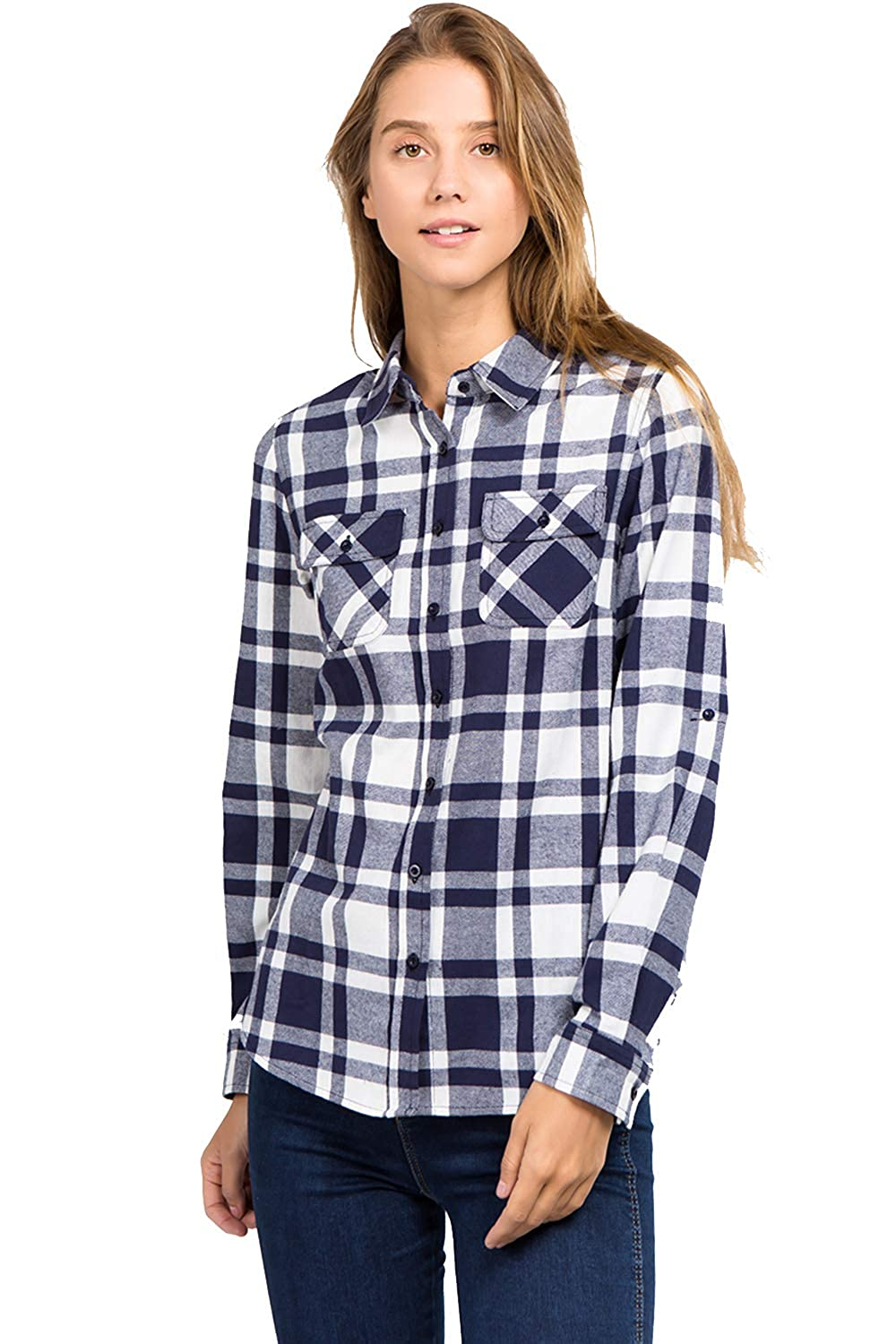 12 muselooks Women's LongSleeve Button Up ClassicFit Lightweight Plaid Flannel Shirt Red