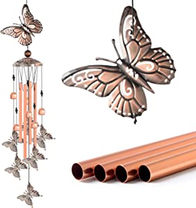 zhengshizuo Butterfly Wind Chimes Copper Recor Garden Decoration Butterflies-Wind Chime with S Hook Mom Birthday Gift Metal Music Wind Chimes Indoor and Outdoor Decor