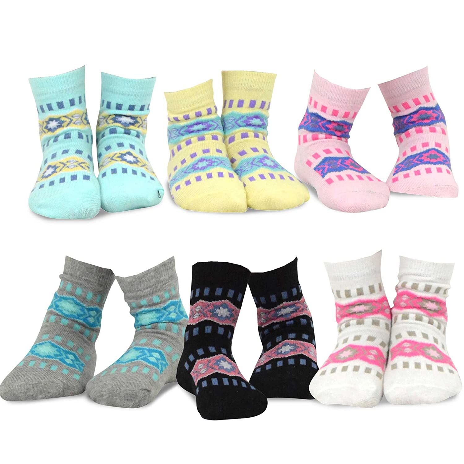TeeHee (Naartjie) Kids Girls Cotton Fashion Fun Crew Socks 6 Pair Pack