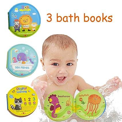 Amazon.com: PojoTech Waterproof Baby Bath Books (Pack of 3) Set of ...