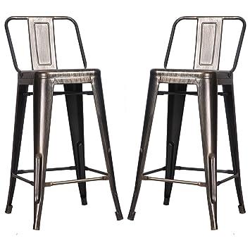 Ordinaire Amazon.com: Merax Low Back Indoor And Outdoor Metal Chair Barstool Set Of 2  (Golden Black): Home U0026 Kitchen