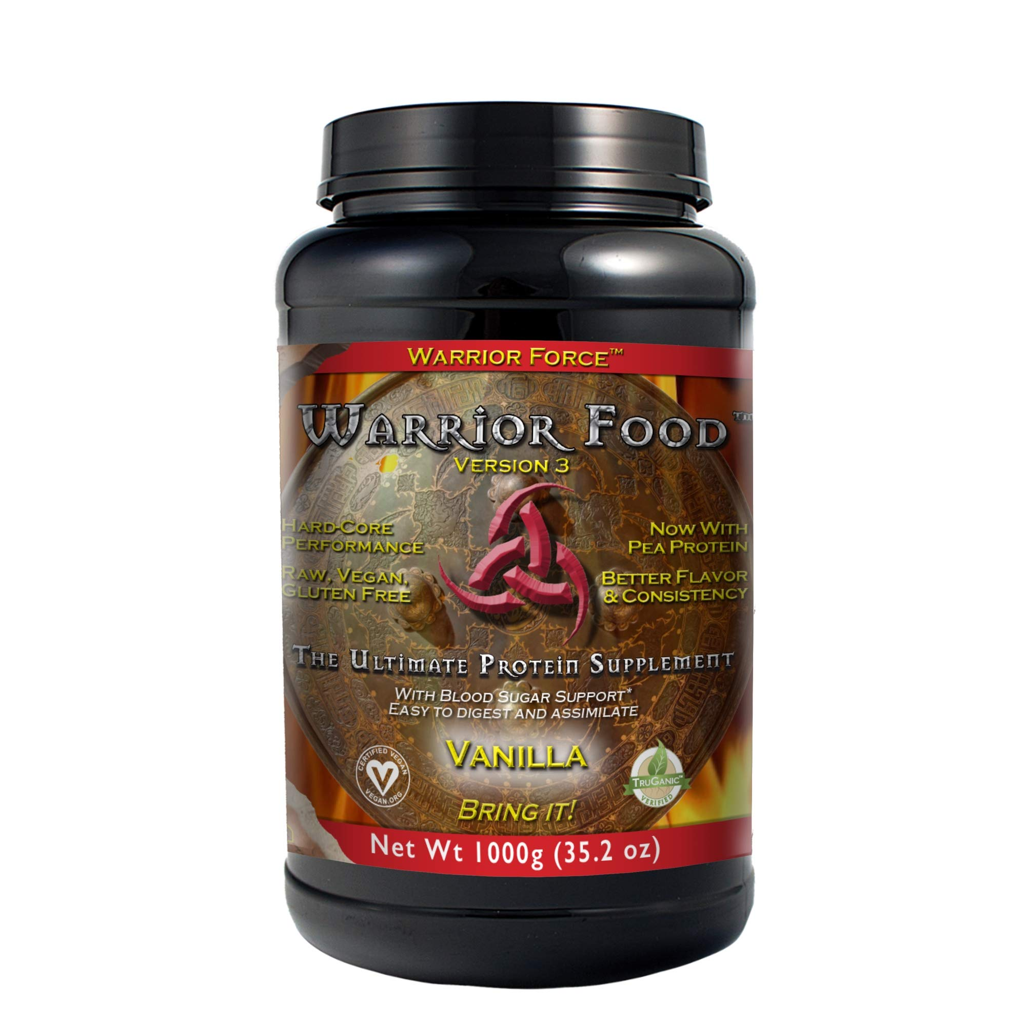 HealthForce SuperFoods Warrior Food, Vegan Protein Powder, Sports Nutrition Alternative, Plant-Based, All Natural, Organic, Gluten-Free, Vanilla, 1000 Grams