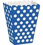 Unique Party - 59294 - Paquet de 8 Boîtes de Pop-Corn à Pois - Bleu Roi
