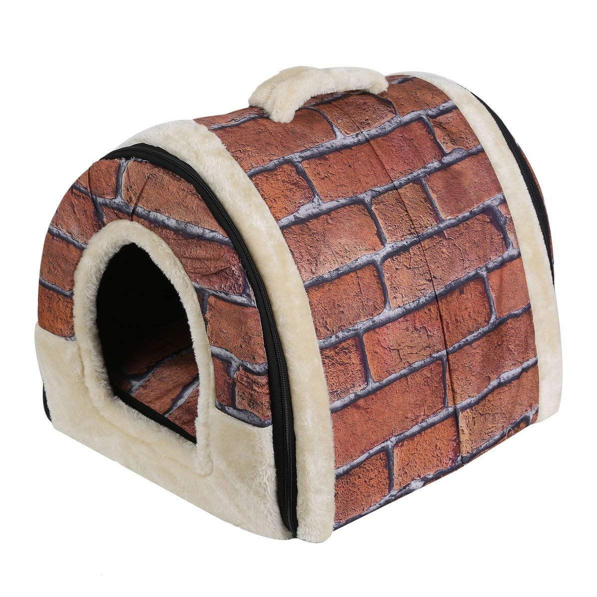 2 in 1 Pet House,Foldable Dog Puppy Cat House Kennel Nest, Soft Bed with Mat for Small Medium Pet Comfortable Travel Bed Tent,74  38  36CM