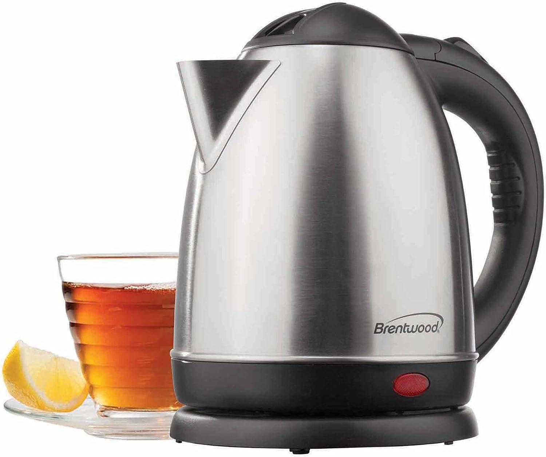 Electric Tea Kettle – Premium 2.0L Cordless Electric Tea Kettle – Brushed Stainless Steel – Cordless Tea Kettle – Quick Boil – Auto Shut-off – Basic Finds By Brentwood