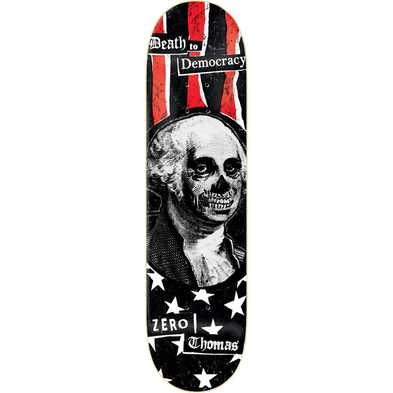 Bundle of 2 Items Zero Skateboards Jamie Thomas Death to Democracy Skateboard Deck 8.25 x 31.9 with Mob Grip Perforated Black Griptape