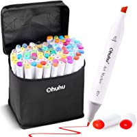 Art Markers Set, Ohuhu Dual Tips Coloring Marker Pens for Kids, Fine and Chisel Tip Double-Ended Alcohol Based Drawing Markers for Sketch Adult Coloring Book, Back to School Art Supplies,Gift Idea (80 Colors)