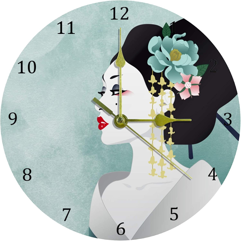 DEYYA Blue Watercolor Japanese Woman Geisha Round Acrylic Wall Clock Silent Non Ticking Art Decorative for Home Office School