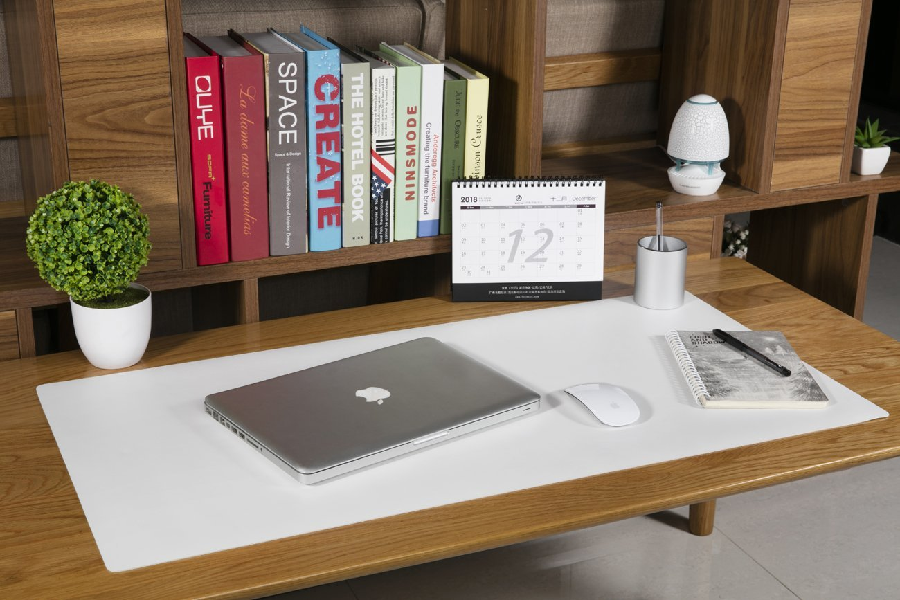 Verde + Cielo Blu Saicok Tappetino per Mouse Ufficio 900 x 400 x 2 mm Ultra Sottile Antiscivolo e Impermeabile PU Pelle Tappetino per Ufficio Super-Portable Doppio Lato sottomano