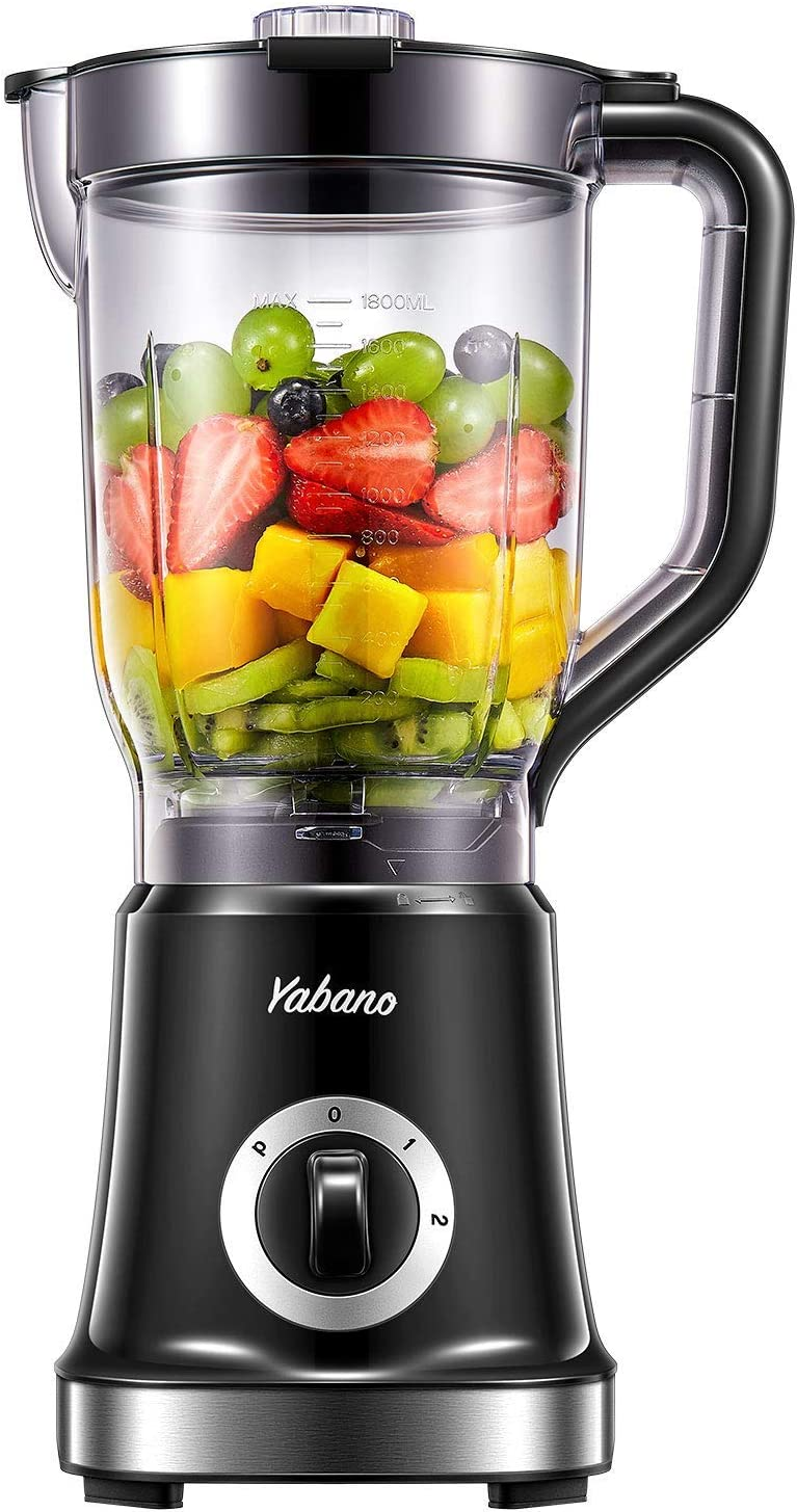 Blender, Professional Countertop Blender for Kitchen, High Speed Smoothie Blender with 4 Blade System for Shakes, Ice Crushing and Frozen Fruits, 60 oz BPA Free AS Jar, Self Cleaning by Yabano (Renewed)